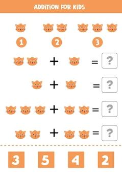 Jeu d'addition avec visage de chat mignon de bande dessinée. jeu de mathématiques pour les enfants.