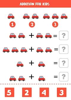 Jeu d'addition avec voiture rouge de dessin animé. jeu de mathématiques pour les enfants.