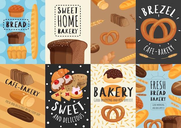 Jeu d'affiches et de bannières de boulangerie