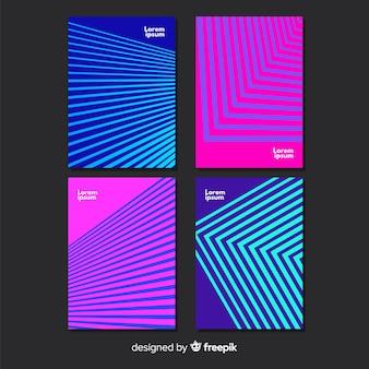Jeu d'affiches de lignes géométriques colorées