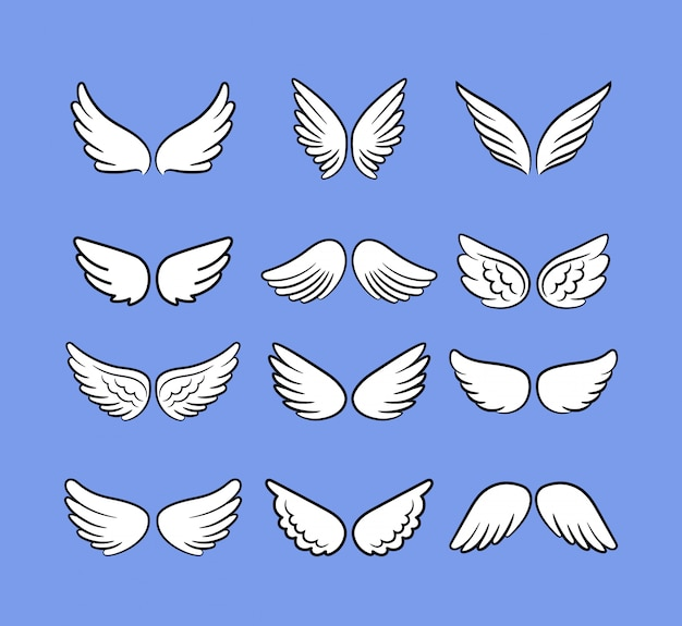 Jeu d'ailes d'ange dessin animé. ailes dessinées à la main isolés sur blanc, oiseaux dessinés ou anges croquis icônes