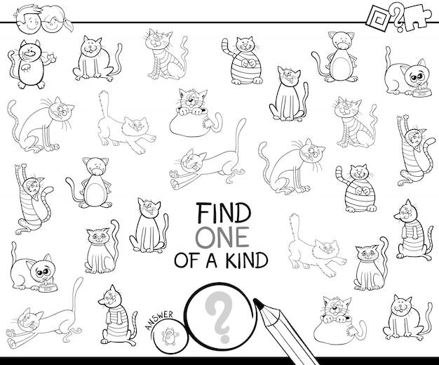 Un d'un jeu aimable avec des chats livre de coloriage