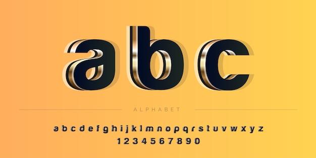 Jeu d'alphabet 3d abstrait couleur profonde gras