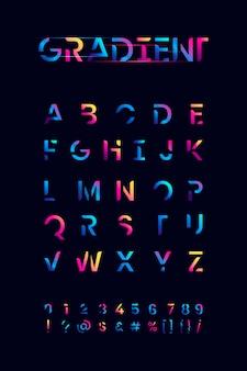 Jeu d'alphabet dégradé coloré