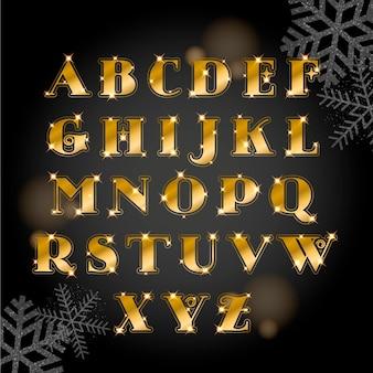 Jeu d'alphabet de noël doré