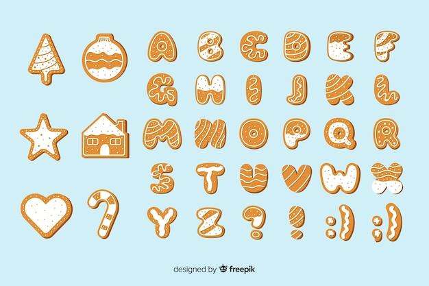 Jeu d'alphabet de noël en pain d'épice