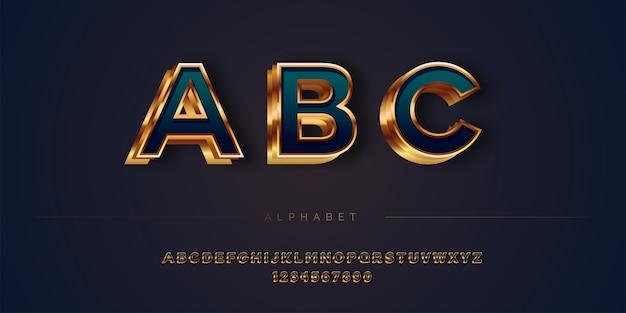 Jeu d'alphabet de style luxe abstrait en couches dorées