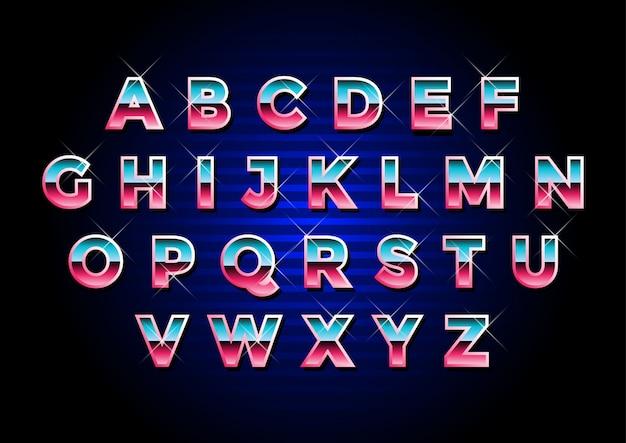 Jeu d'alphabets métalliques futuristes rétro