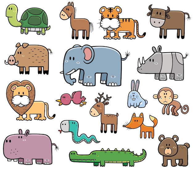 Jeu d'animaux sauvages de dessin animé