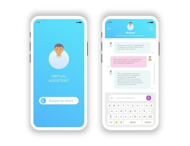 Jeu d'applications mobiles de fenêtres de chat en ligne isolé sur fond blanc communication sociale
