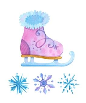 Jeu d'aquarelle de patinage sur glace et de flocons de neige.