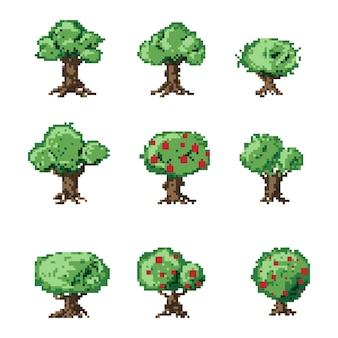 Jeu d'arbres d'art pixel