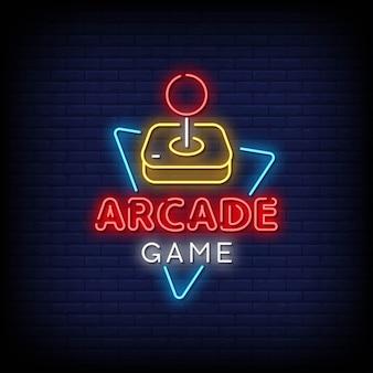 Jeu d'arcade enseignes au néon
