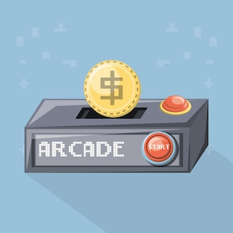 Jeu d'arcade jeu d'armoire icône de pièce de monnaie