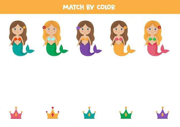 Jeu d'association de couleurs pour les enfants. sirène et couronne de dessin animé mignon.