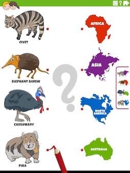 Jeu d'association éducatif avec des personnages d'animaux de dessins animés et des continents