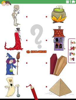Jeu d'association éducatif pour les enfants avec des personnages effrayants d'halloween