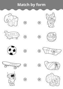 Jeu d'association, jeu d'éducation vectorielle pour les enfants. connectez les jouets et les cadeaux pour garçon par forme