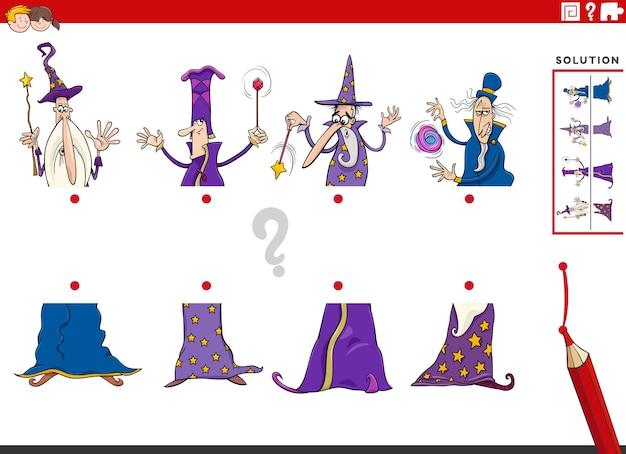 Jeu d'association de moitiés d'images avec des personnages fantastiques de sorciers de dessins animés
