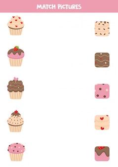 Jeu d'association pour les enfants d'âge préscolaire. muffins mignons et leurs motifs.