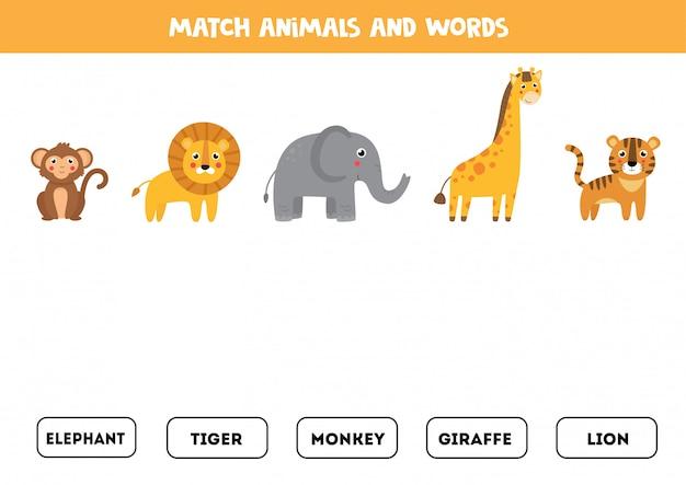 Jeu d'association pour les enfants. animaux de dessin animé mignon.