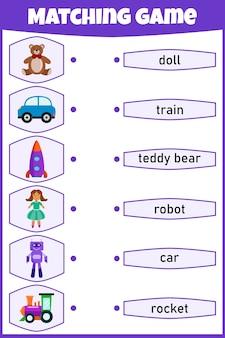 Jeu d'association pour les enfants. connectez l'image et les mots. feuille de travail éducative pour les enfants.