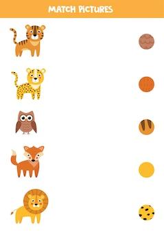 Jeu d'association pour les enfants. trouvez le motif de l'animal.