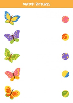 Jeu d'association pour les enfants. trouvez le motif de papillons en carton mignons.