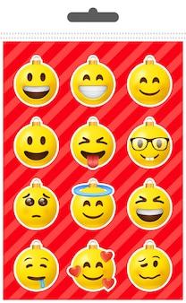 Jeu d'autocollants boule emoji de noël