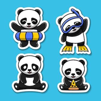 Jeu d'autocollants d'illustration de personnage de dessin animé mignon panda