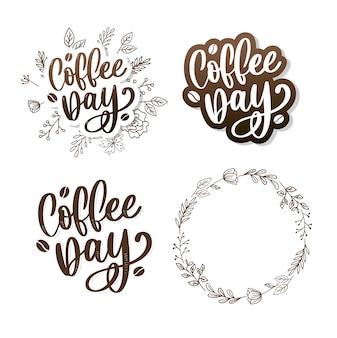 Jeu d'autocollants pour la journée internationale du café