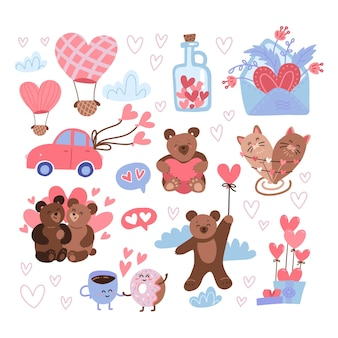 Jeu d'autocollants saint valentin. fête des étiquettes de la saint-valentin, icônes du 14 février heureux avec des nounours mignons, pot de coeurs, ballons à air, lettre d'amour.