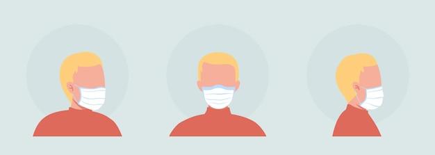 Jeu d'avatars de caractères vectoriels de couleur semi-plat porteur de masque en tissu