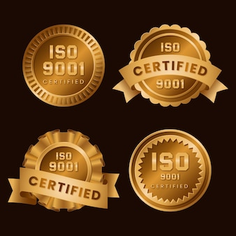 Jeu de badges de certification iso