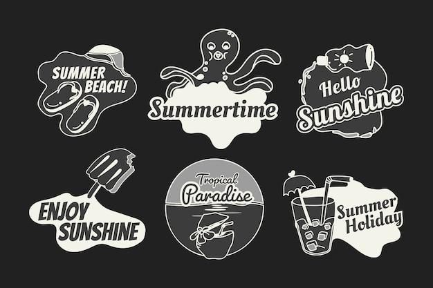 Jeu de badges d'été rétro