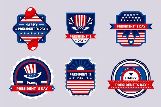 Jeu de badges d'étiquette du jour du président