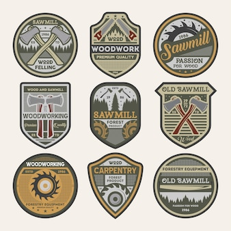Jeu de badges isolé entreprise de menuiserie vintage