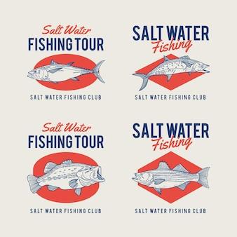 Jeu de badges de pêche détaillés