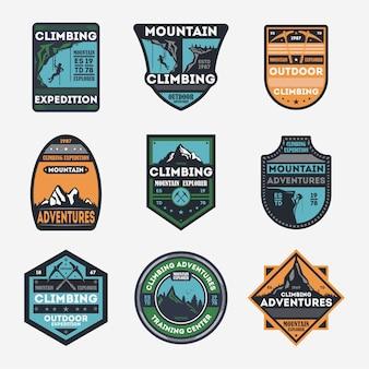 Jeu de badges vintage isolé d'escalade en montagne