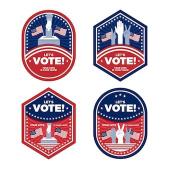 Jeu de badges de vote américains