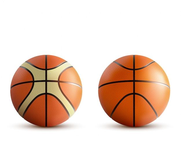 Jeu de balles de basket isolé sur blanc