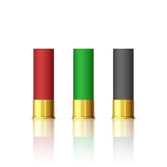 Jeu de balles de fusil. cartouches d'armes à feu de chasse au fusil de chasse. balle de fusil différente.