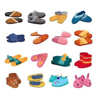 Jeu de bande dessinée maison pantoufle icône. chausson d'icône isolé dessin animé et chaussures.