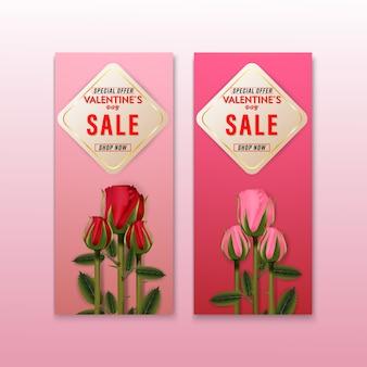 Jeu de bannière arrière-plans roses fleurs vente saint valentin