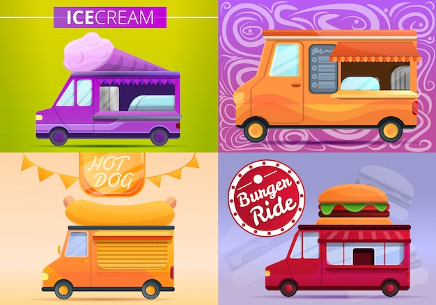Jeu de bannière de camion de nourriture, style cartoon
