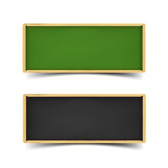 Jeu de bannière de la commission scolaire. illustration réaliste de tableaux verts et noirs avec de la craie et des bordures en bois. bannières web horizontales avec ombre isolé sur fond blanc.