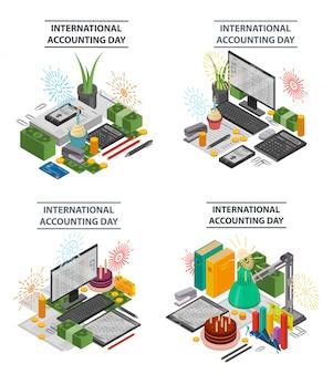 Jeu de bannière de comptabilité. ensemble isométrique de bannière de vecteur de comptabilité pour la conception web