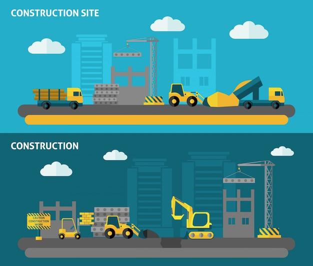 Jeu de bannière de construction