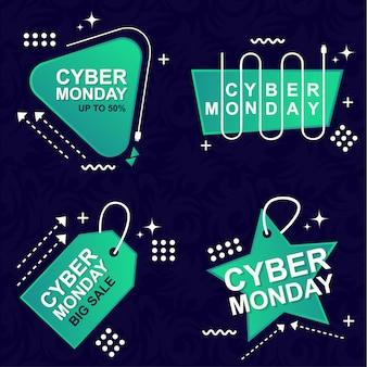 Jeu de bannière cyber monday vente elements premium vector pack