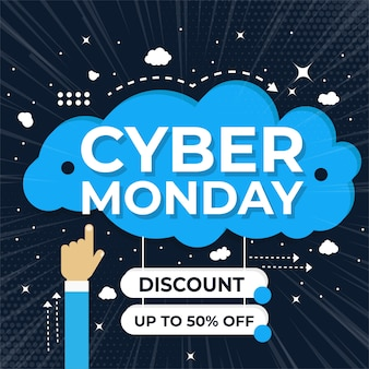 Jeu de bannière cyber ​​monday vente elements premium vector pack